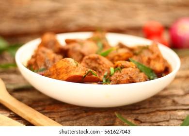 Indian spicy chicken tikka masala- selective focus image.