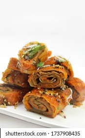 Indian Spicy farsan Patra [Alu Vadi]Made from colocasia leaves and besan with tamrind and jaggery.very famous Gujarati farsan