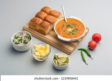 Indian spicy fast food Pav Bhaji with bread, onion and butter