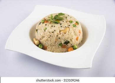 Indian Spicy Food Daliya, Upama, Oatmeal, Dish made from semolina.
