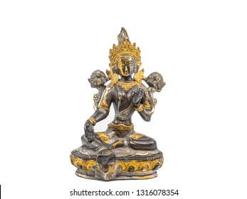 Indian statue bronze with Tara Goddess on white background
