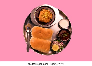 Indian street chat spicy traditional Vada Misal in plate