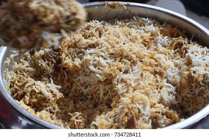 Indian street food -Chicken Biriyani or Hyderabad Biryani