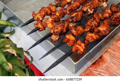 Indian street food-Kebab or kabob Popular Middle Eastern dish based on grilled meat