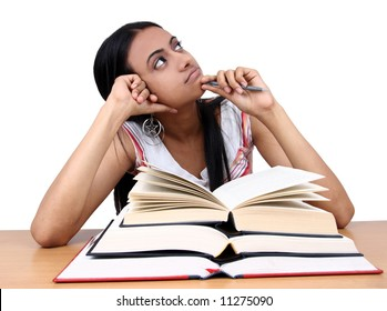 Indian student studying.