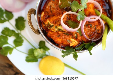 INDIAN STYLE COTTAGE CHEESE VEGETARIAN CURRY DISH. Kadai Paneer -traditional Indian food.