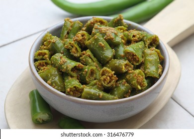 Indian style Green Chilli Pickle in a bowl.