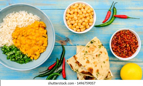 Indian Style Healthy Vegetarian Lentil Curry With Basmati Rice, Chickpeas and Coriander Herbs