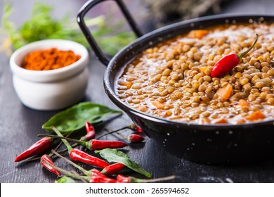 Indian style lentil soup with red hot chili pepper