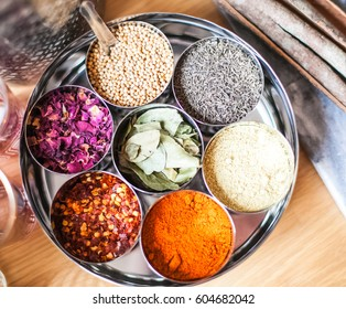 Indian Style Spice container  Masala Dabba with Variety of Seven Spices and serving spoon