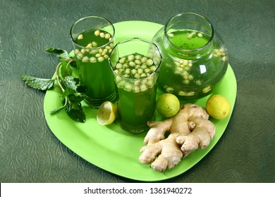 Indian Summer Drink Jaljeera or Jal-Jeera is an Indian beverage prepared with cumin powder in water and served cold with Boondi, Mint and Lemon slice