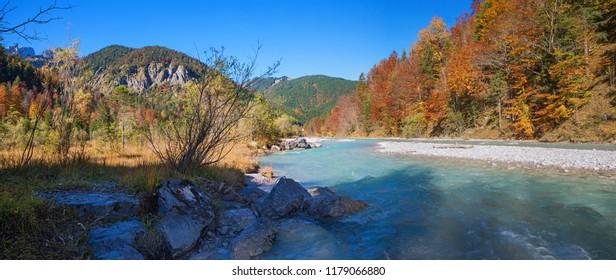 indian summer in the rissbach valley, nature park karwendel. autumnal landscape austria tirol
