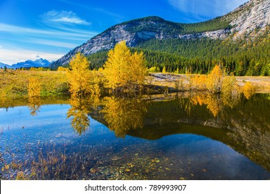 Indian Summer in the Rockies. Rocky Mountains are reflected in the smooth water of Lake Abraham. Concept of ecological and active tourism