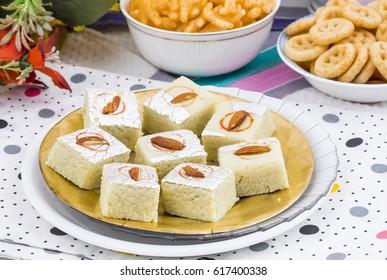 Indian Sweet Food Badam Barfi Also Know As Mithai, barfee, Mawa Barfi, Mava barfi, Almond Sweet, khoya Burfi Indian Popular Sweet Made up of Coconut, Mawa, Milk and Sugar