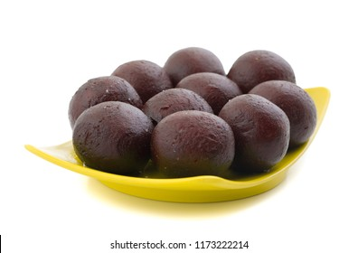 Indian Sweet Food Sweet Black Gulab Jamun Also Know as Kala Jamun, Black Jamun or Dry Kala Jam is a Popular Indian Dessert or Doughnuts for Festivals And Weddings