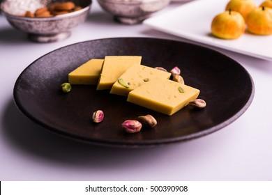 Indian Sweet Food diamond shape Kaju Katli and kesar barfi