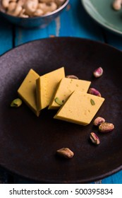 Indian Sweet Kaju Katli or kesar pista barfi