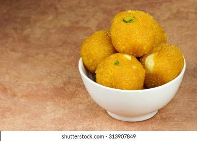 """Indian Sweet """"Motichoor Ladoo"""" in bowl"""