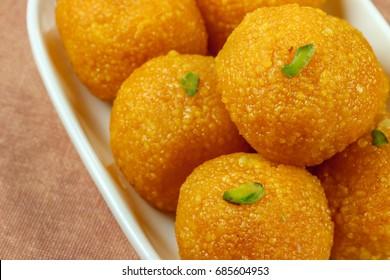 "Indian Sweet ""Motichoor Ladoo"" in plate"