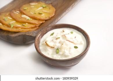 Indian Sweet Rabri and Malpua