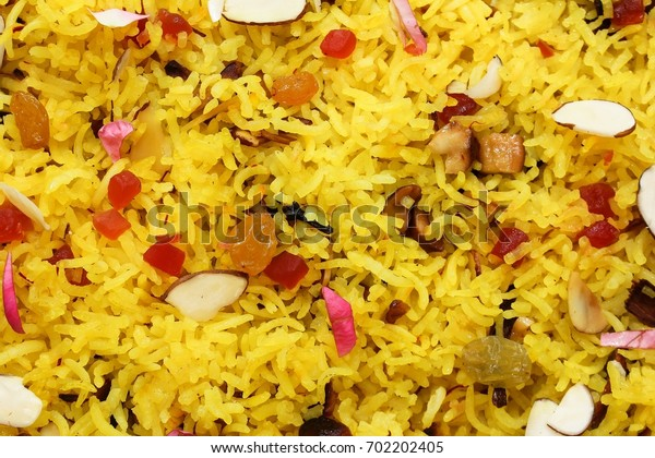 Indian sweet Saffron Rice / Zarda rice background