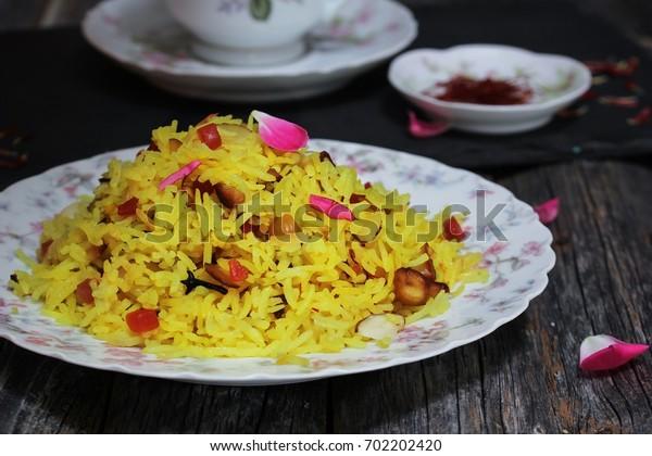 Indian sweet Saffron Rice / Zarda rice side view