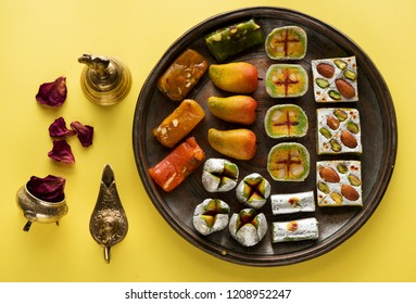 Indian sweets and Mithai for Diwali festival, flat lay, top view