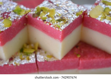 Indian sweets strawberry barfi