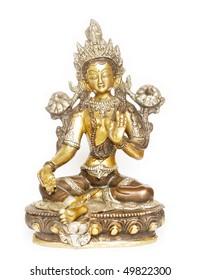 Indian tara statue against white background