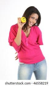 Indian teenage girl with smile ball