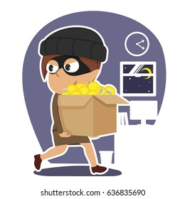 indian thief businesswoman stealing box of ideas