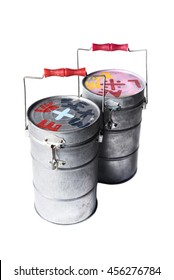 Indian Tiffin carrier or food carrier on background