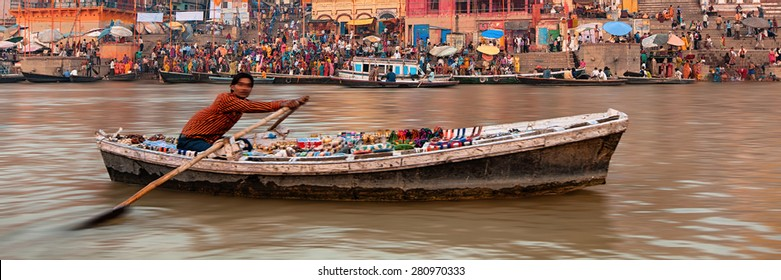 Indian tourist attractions Varanasi. Panoramic horizontal cover layout