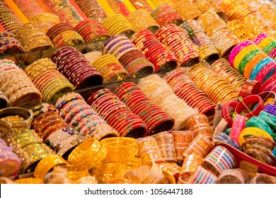 Indian traditional Bangles or bracelets for sale in the market, india