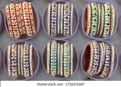 Indian traditional Bangles or bracelets for women. jaipur, Rajasthan India, March 2018. handmade Traditional Indian bangles. bangles in a plastic box for sale.