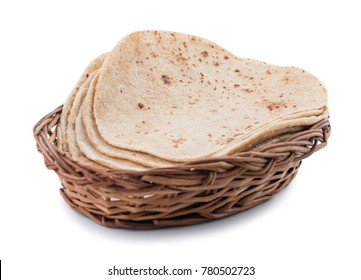Indian Traditional Cuisine Chapati Also Know as Roti, Fulka, Paratha, Indian Bread, Flatbread, Whole Wheat Flat Bread, Chapathi, Wheaten Flat Bread, Chapatti, Chappathi or Kulcha on White Background