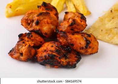 Indian traditional cuisine - Tandoori chicken with naan