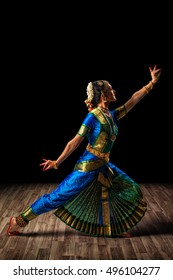 Indian traditional culture - beautiful woman dancer exponent of Indian classical dance Bharatanatyam of Tamil Nadu state