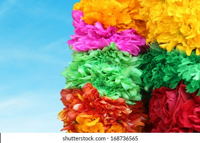 Indian traditional culture colorful garland