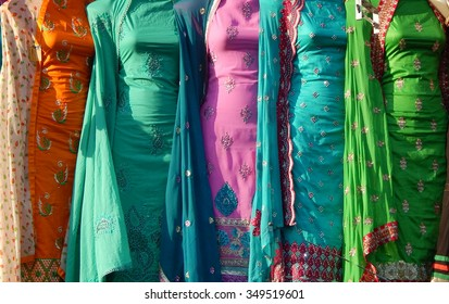 Indian traditional dress Salwar kameez suits in the market