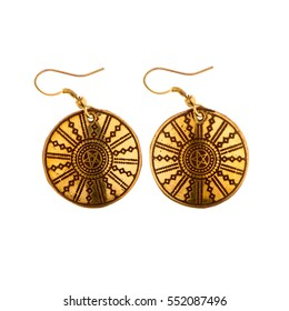 Indian traditional earrings isolated on white background