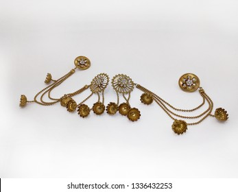 Indian Traditional Earrings,Jhumka isolated on white background