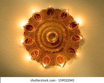 An Indian traditional, earthen lamp
