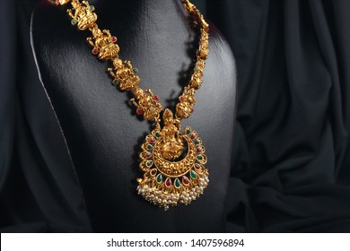 Indian Traditional Gold Necklace with Lakshmi Pendant