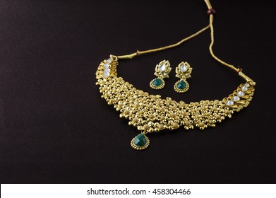 Indian Traditional Jewellery. pendant and earrings.