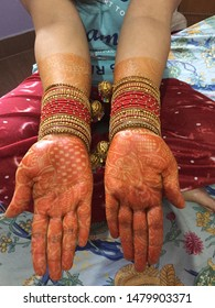 Indian traditional mehndi design during festival like teen karvachauth or Eid