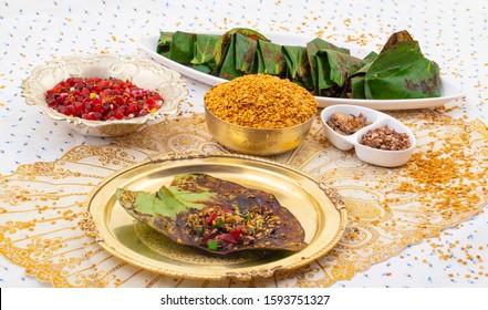 Indian Traditional Mouth Freshener Sweet Paan Also Known as Masala Paan, Meetha Paan, Plain Paan or Beeda