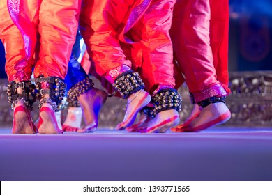 Indian Traditional odissi dancers feets with Traditional ankle bells called ghungroo, Alta