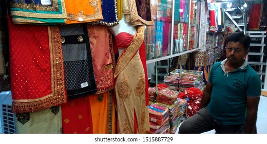 indian traditional sari store at district Katni Madhya Pradesh in India shot captured on sep 2019