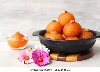 Indian Traditional Special Sweet Food or dessert Gulab Jamun. Dussehra or Diwali festival food. copy space
